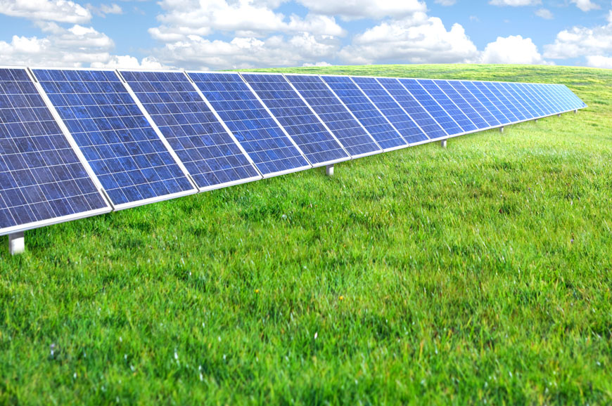 Solar panels on vibrant green grass