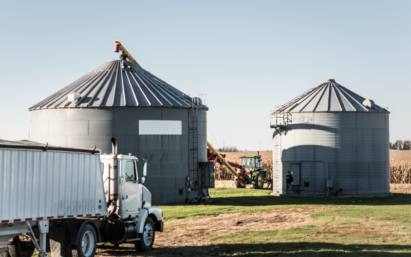 Farm equipment, machinery, and a delivery truck