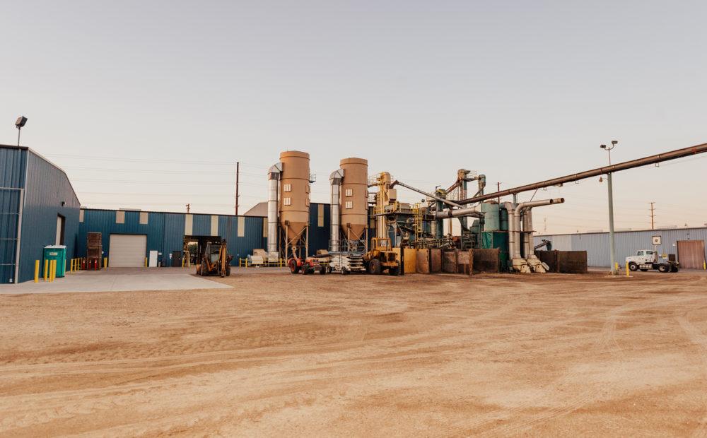 Almond processing facility in Hughson, California