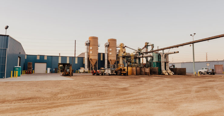 Almond processing facility in Hughson, California