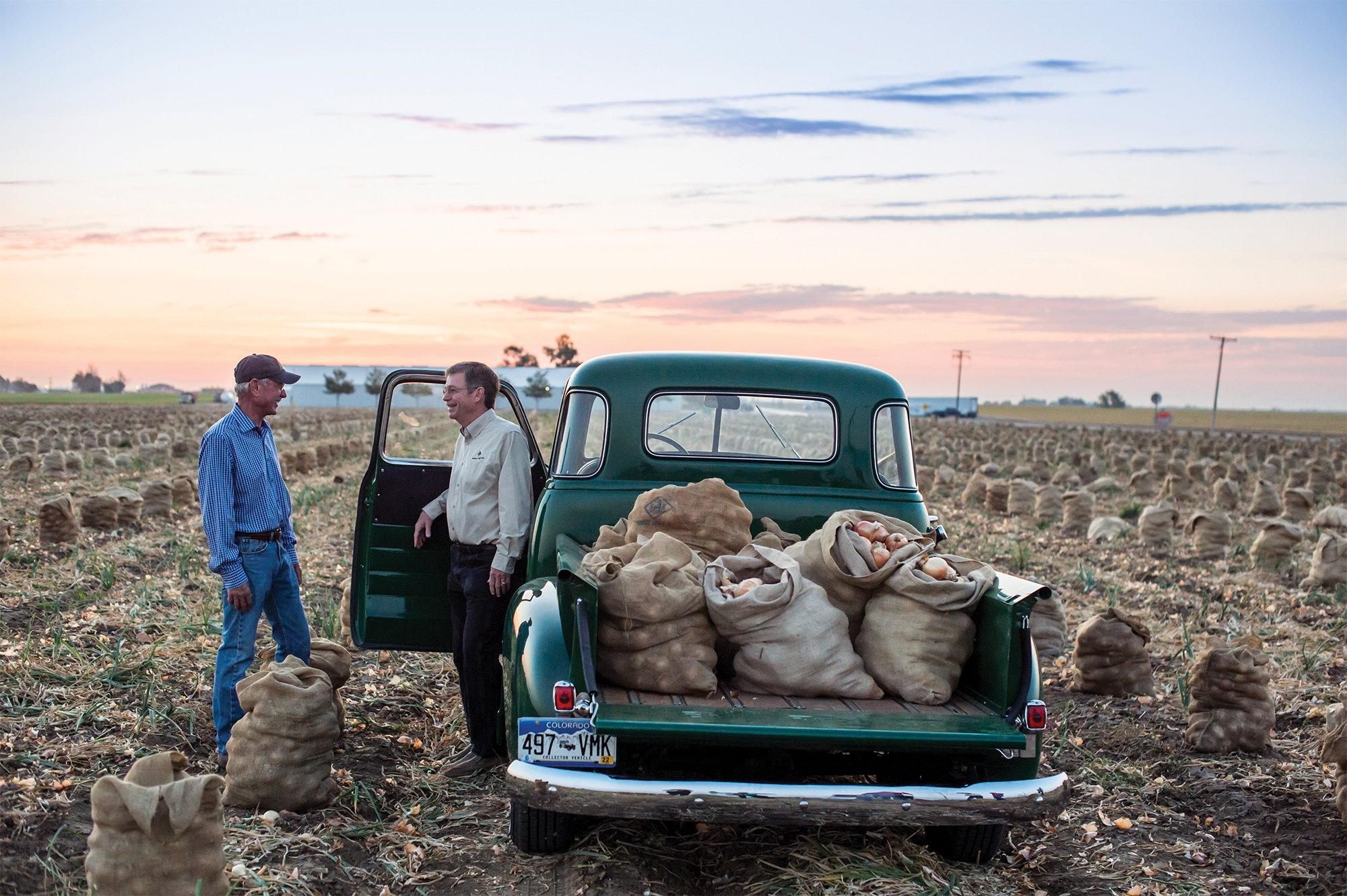 Two farmers by a green pickup truck with bags of onions in the truck's bed
