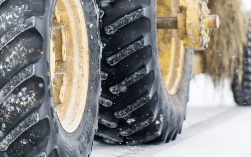 Tractor wheels in the snow