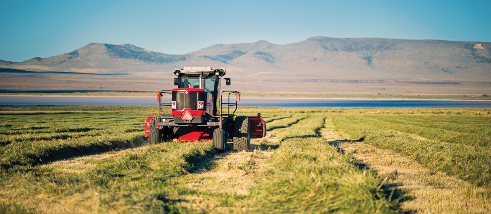 harvesting equipment in alfalfa field