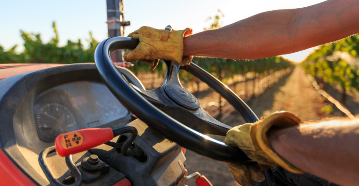 Closeup of a farmer driving tractor in vineyards