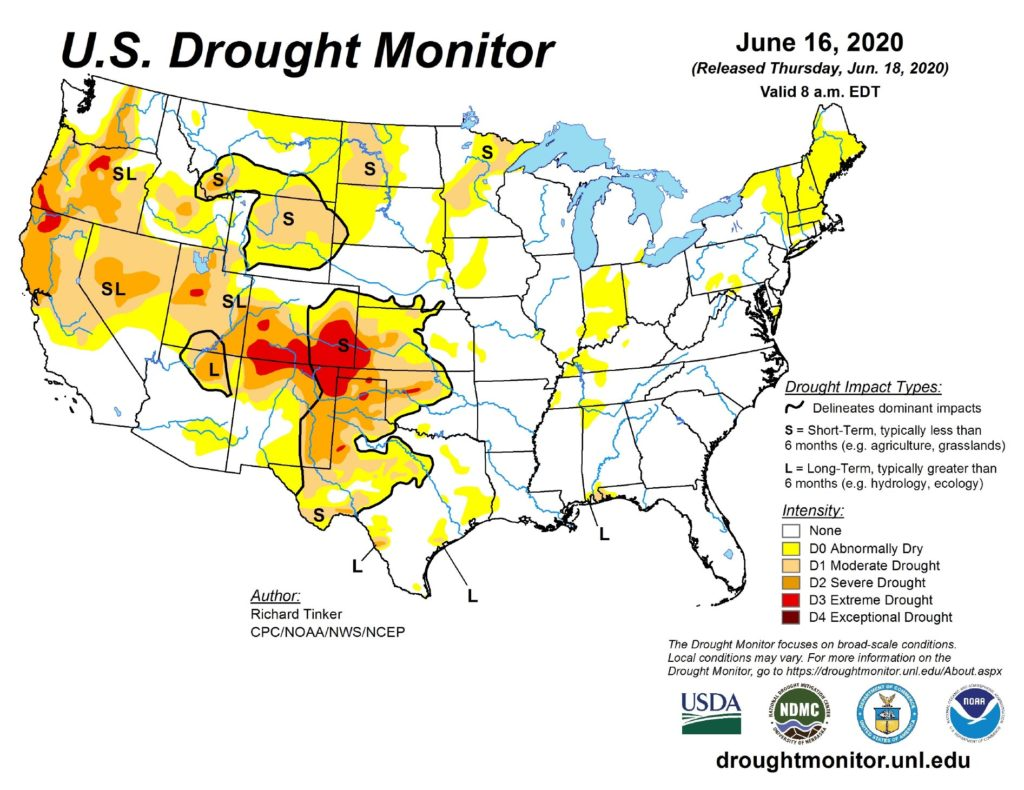 US Drought Monitor: June 16, 2020